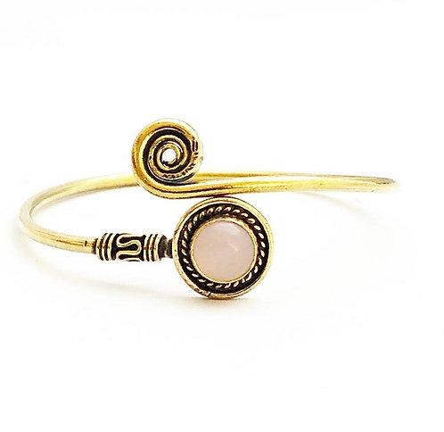 Rose Quartz Brass Spiral Bracelet