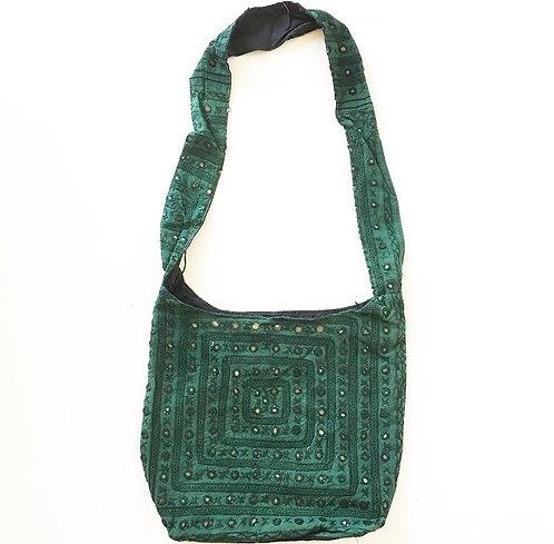 Bottle Green Mirror Slouch Bag