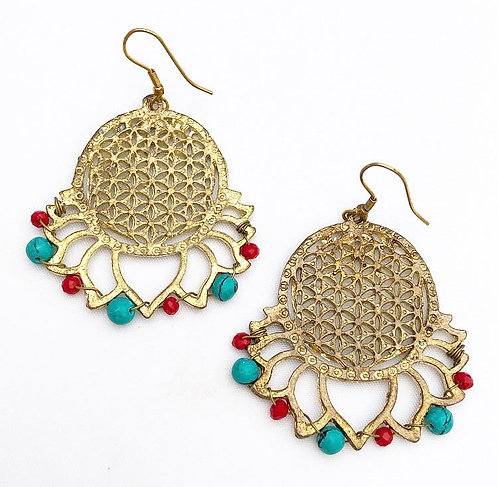 Turquoise & Red Flower of Life Earrings
