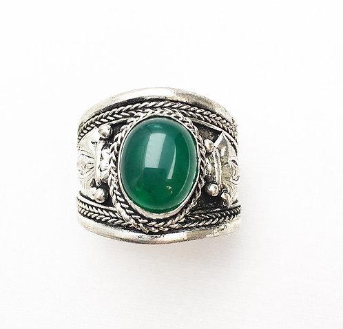 Green Jasper Stone Tibetan Ring