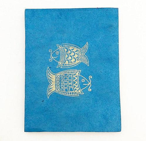 Blue Golden Fish Auspicious Symbol Notebook