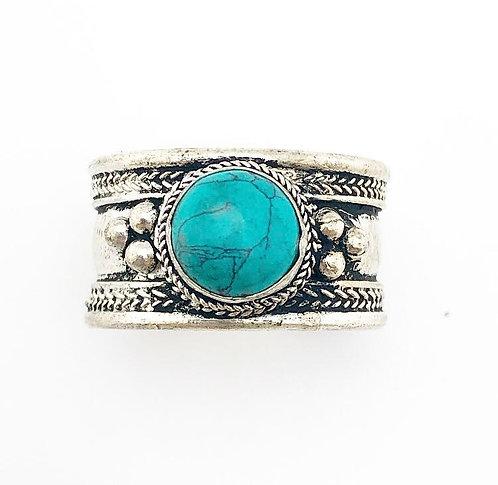 Small Turquoise Tibetan Ring