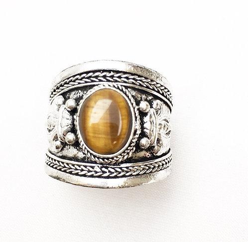 Tiger's Eye Tibetan Ring