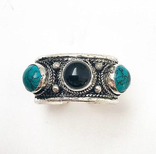 Black Obsidian & Turquoise Tikadee Ring