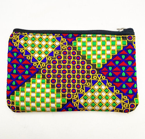 Embroidered Geomatric Coin Purse