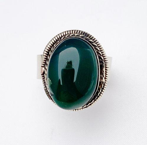 Dark Green Agate Stone Ring