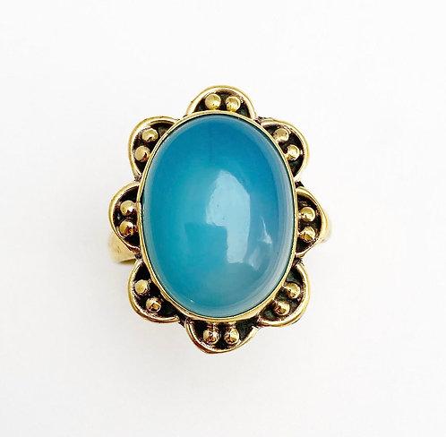 Chalcedony Brass Stone Ring