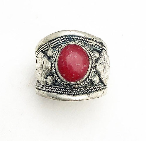 Red Speckled Tibetan Ring