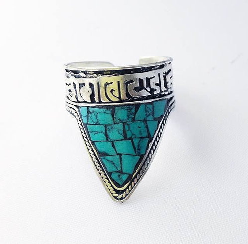 Turquoise Newari Mantra Ring