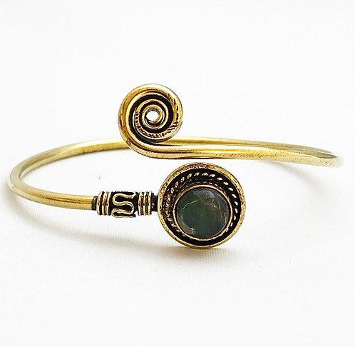 Labradorite Brass Spiral Bracelet