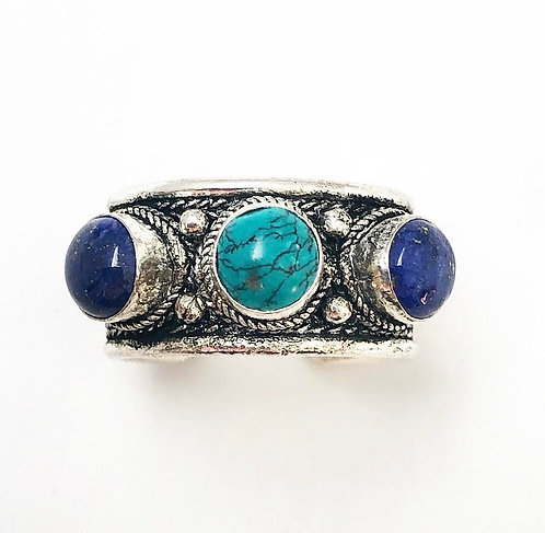 Turquoise & Lapis Lazuli Tikadee Ring