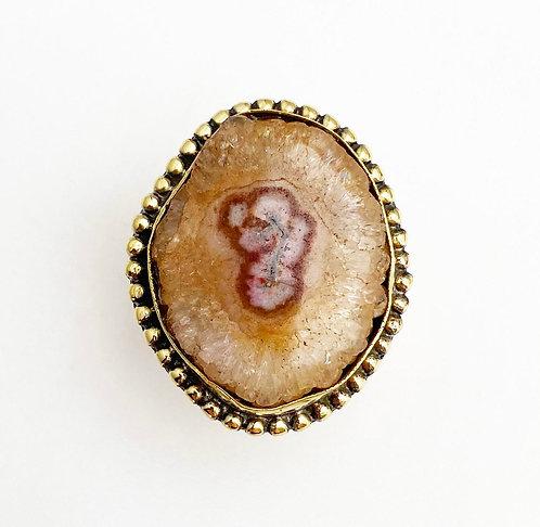 Tan Agate Brass Stone Ring