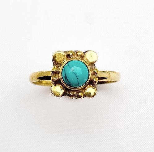 Turquoise Brass Varg Ring