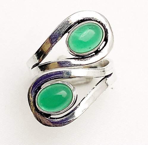 Green Jasper Loop Ring