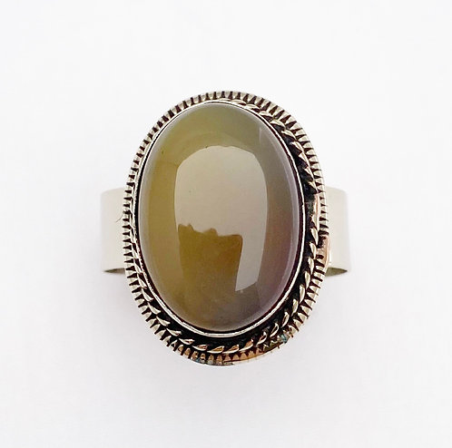Olive Agate Stone Ring