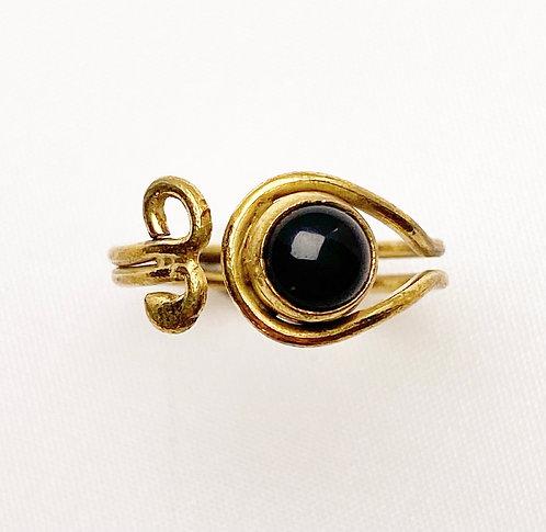 Onyx Brass Spiral Ring