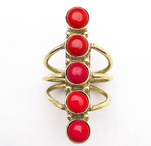 Coral 5 Stone Ring