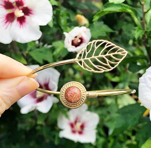 Goldstone Brass Leaf Bracelet