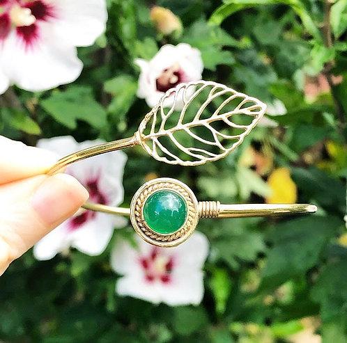 Green Jasper Brass Leaf Bracelet