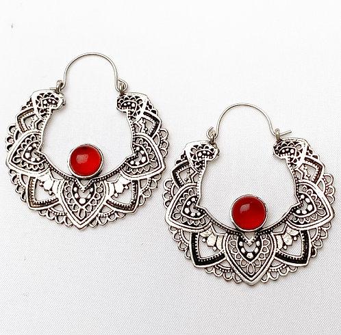 Carnelian Mandala Earrings
