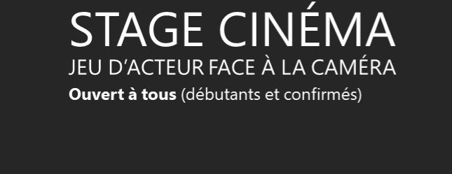 Lille STAGE CINEMA - L'ACTEUR FACE A LA CAMERA