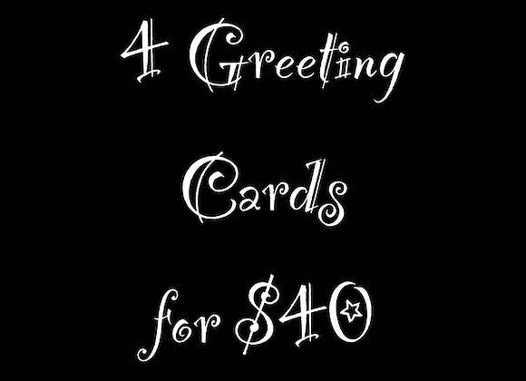 Set of 4 Greeting Cards/Art Prints
