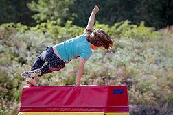 Girl Child Practicing Parkour Gymnastics