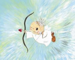 「 天使ふらちゃ 」2013年紙に水彩