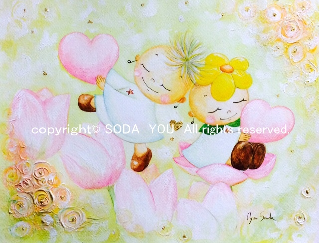 「お花畑でデート」2014年 紙に水彩・金箔