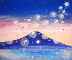 「 ふらちゃが灯りを燈す時 」F20号Acrylic on canvas
