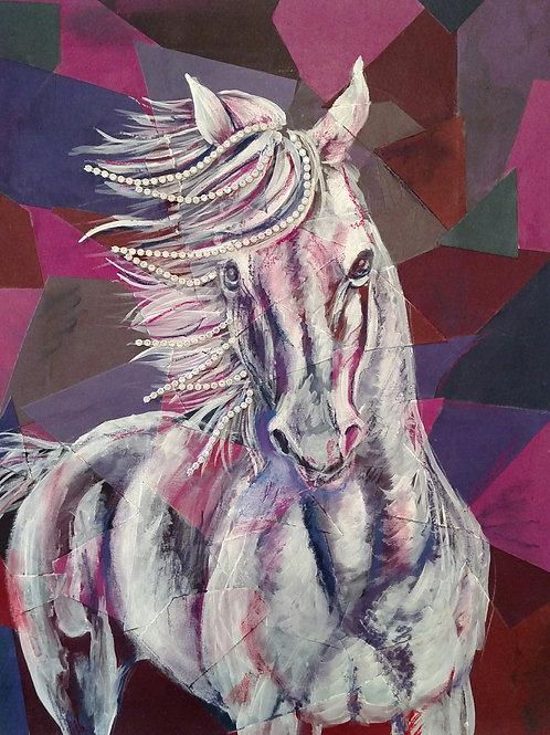 White horse on purple