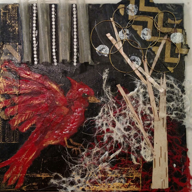 10x10; cardinal mixed media collage; for sale