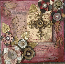 10x10; mixed media 3D floral and cross collage; for sale