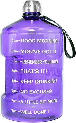 QuiFit Gallon Motivational Water Bottle - with Time Marker & Handle 128/73/43 oz