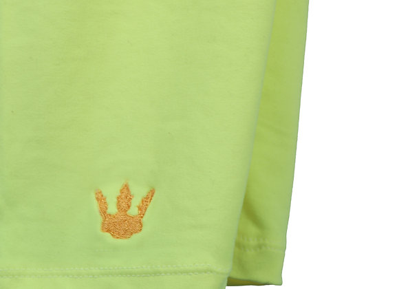Quarter Shorts - Neon yellow  X  gold logo