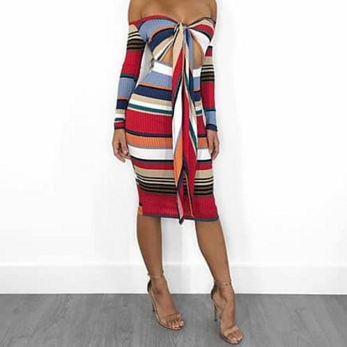 Striped crop midi dress
