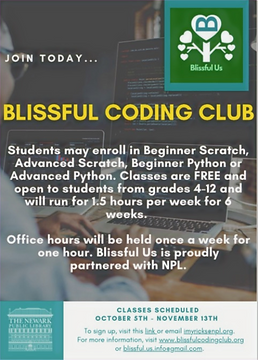 Blissful Coding Club proudly partners with Newark Public Library.
