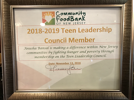 Anusha Bansal, Teen Leadership Council Member in 2018, 2019, 2020