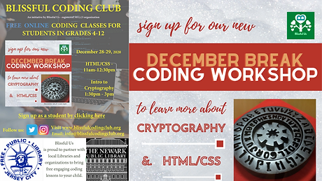 Blissful Coding Club offers relief for parents during the pandemic Holidays! We offer engaging HTML/