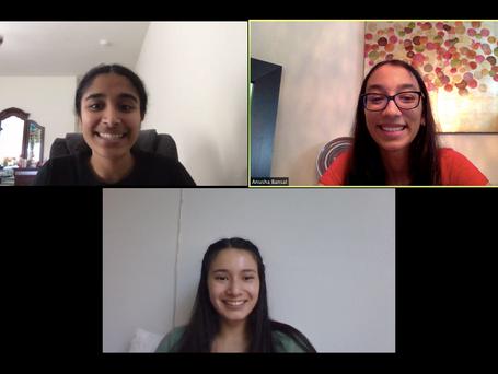 Instructors Lakshmi & Emma in a pre-class call with Anusha