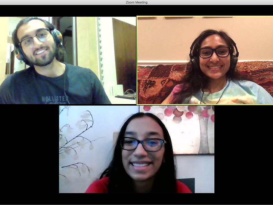 Instructors Vish & Ayesha in a pre-class call with Anusha