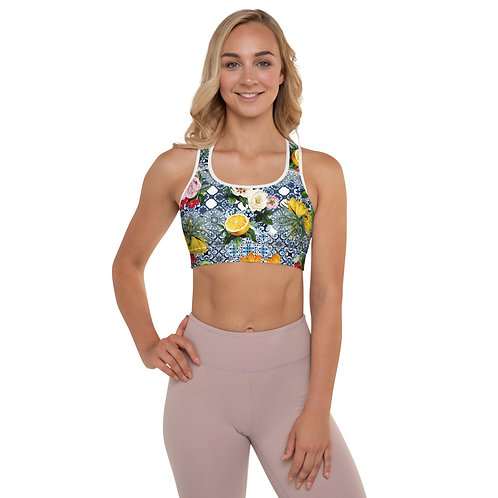 LD Sicilia front and white back. Padded Sports Bra