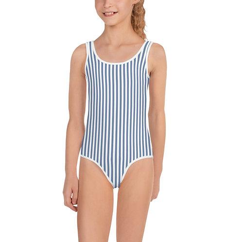 LD Blue Seersucker All-Over Print Kids Swimsuit
