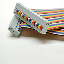 Rainbow coloured computer ribbon cables