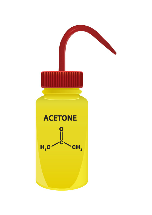 A bottle containing Acetone for removing blacktopping