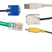 A set of 5 computer cables