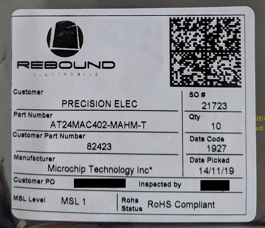Information about the component on a label sticker