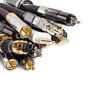 A collection of audio and video cables