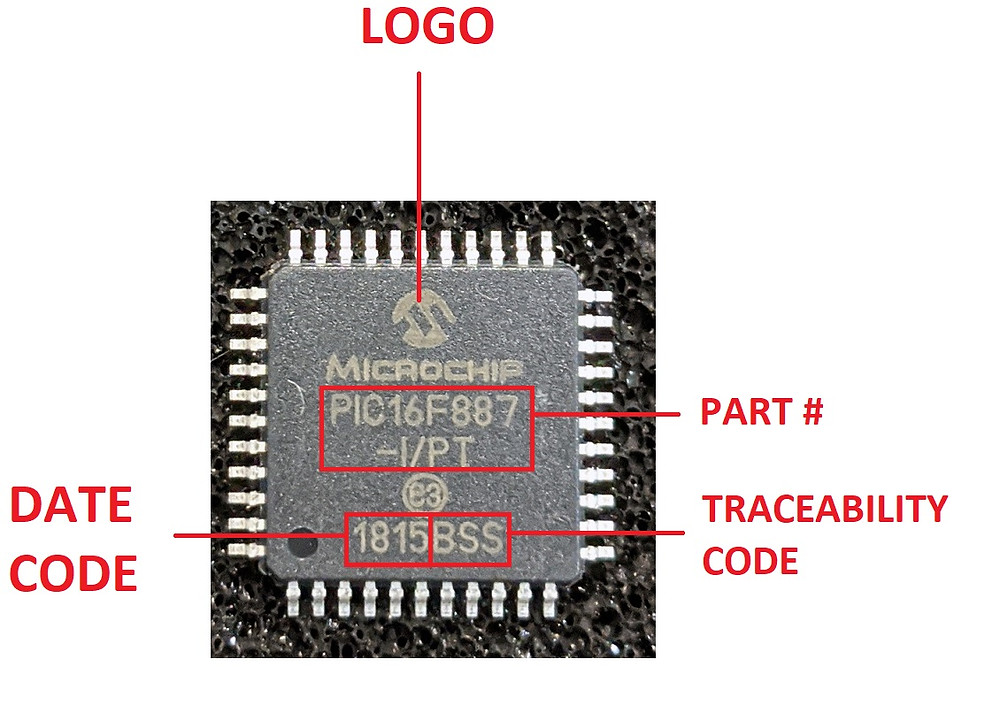 Component with logo, date code, traceability code and part number labelled