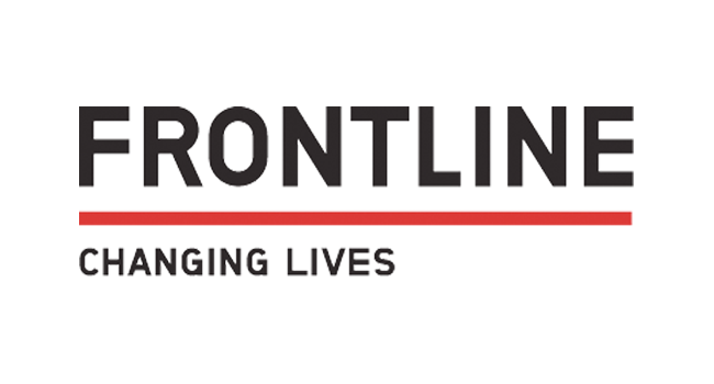 Frontline logo. Text is bold and in black. A thick red line underneath the word 'Frontline', and above the words 'changing lives'